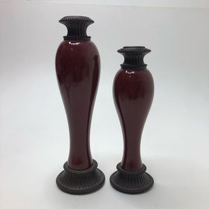 Partylite Barn Red Candlestick Holders